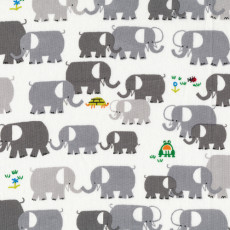 Happy Drawing Elephants On White Organic Cotton